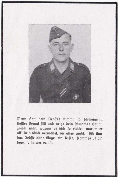 "Fallschirmjäger death card former member ""Sturmgruppe Eisen"" KIAItaly 1944"