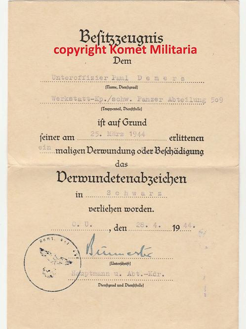 Urkunde Verwundeten Abz. Schwarz Schwere Panzerabteilung 509 (Tiger!)