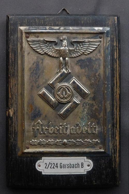 """Reichsarbeistdienst Wall Plaque """"Arbeit Adelt"""", RAD Abteilung 2/224 Gersbach B"""