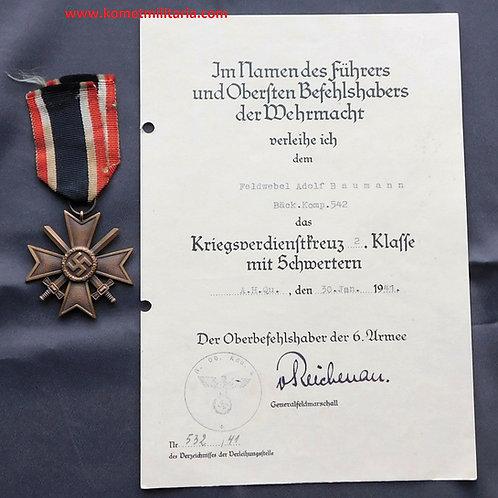 Verleihungsurkunde KVK2+Badge Vordruck 6.Armee