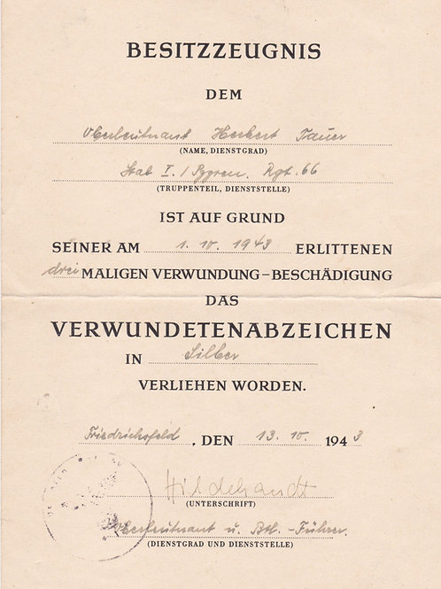 Award Document Wound Badge Silver to later DKIG Holder Herbert Tauer Pzg. Rgt 66