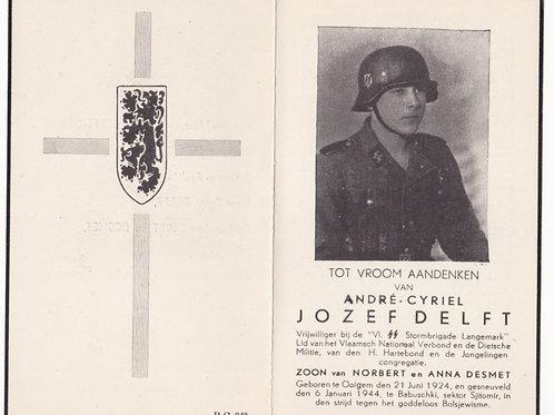 Flemish SS volunteer death card