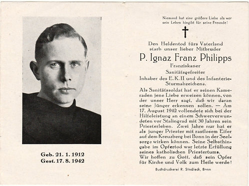 Sterbebild-death card Franciskan friar KIA vor Stalingrad 1942