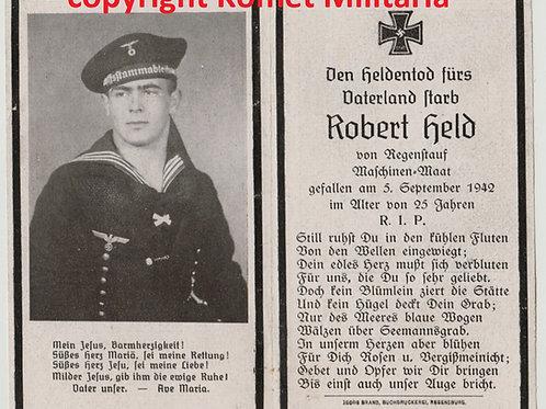 Sterbebild-death card U-Boot (U705), Maschinen-Maat  1942