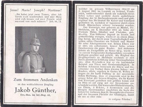 sterbebild-death card Infantry Reg. 65  KIA Ardeuel 1915