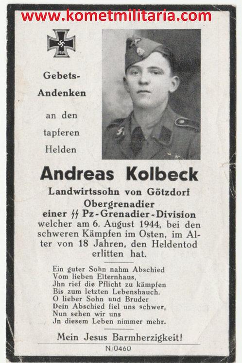 sterbebild-death card SS Panzer Grenadier Warschauer Aufstand 1944
