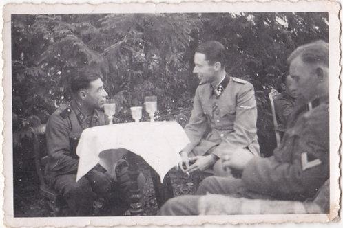 SS Hauptsturmführer having a drink with comrades