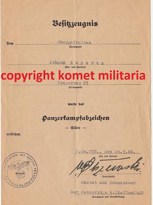 Urkunde Panzerkampfabzeichen Silber Panzerzug 26, Olszewski signature