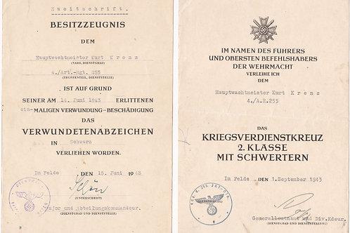 Award Document Set Hauptwachtmeister 4./ Artillery Regiment 255