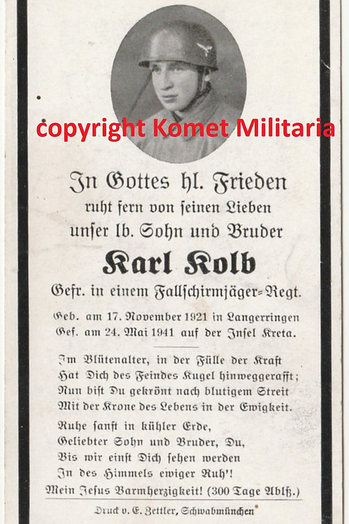 sterbebild-death card Fallschirmjäger 12. komp. Sturmregiment kia Kreta 1941