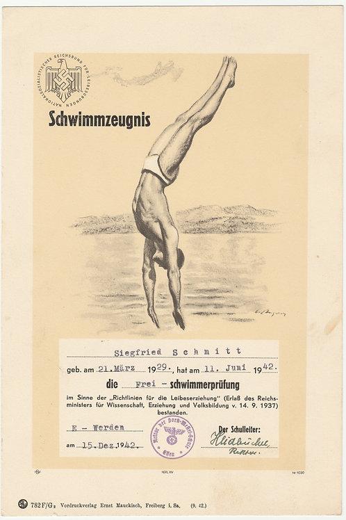NS Reichsbund für Leibesübungen Urkunde-Schwimmzeugnis 1942