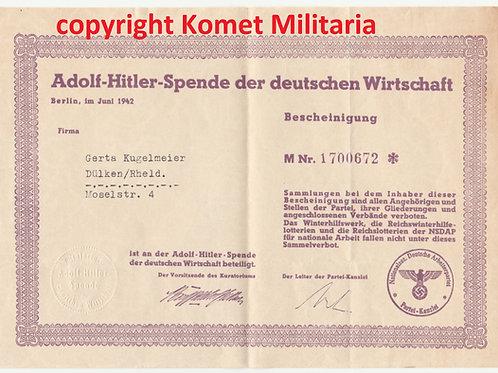 Adolf Hitler Spende der Deutschen Wirtschaft 1942