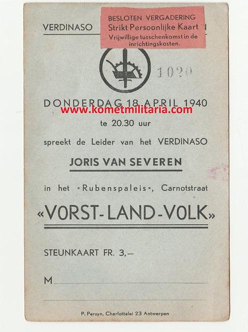 Verdinaso steunkaart Rubenspaleis Antwerpen 18/4/1940