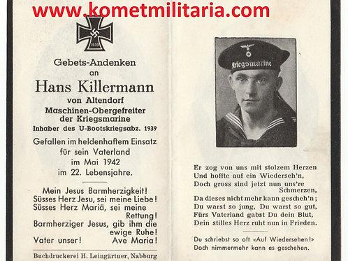 Sterbebild-death card U-Boat (U85), Maschinenobergefreiter 1942