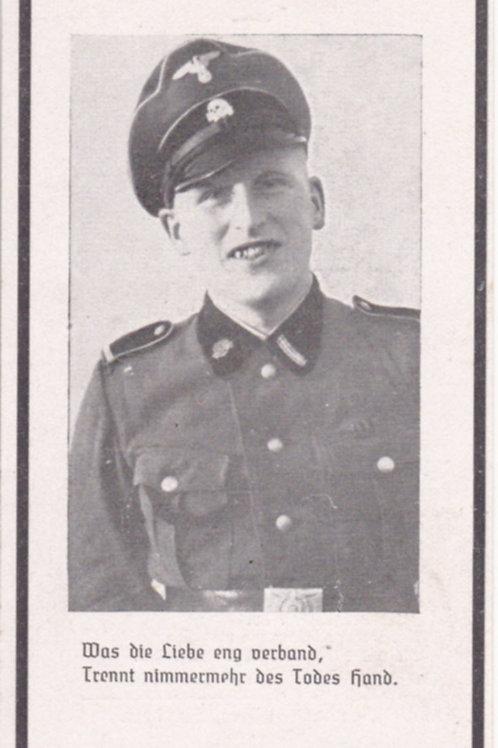 sterbebild-death card SS Unterscharführer kia Eastern Front- Demjansk Pocket