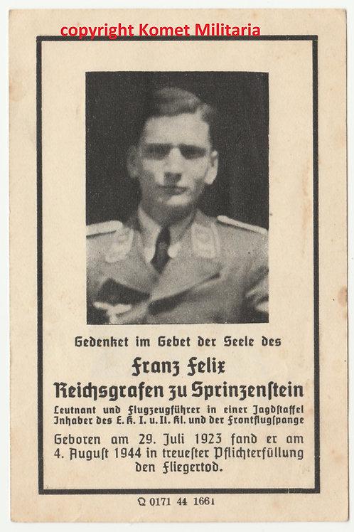 sterbebild-death card nobleman Pilot 1./ZG1