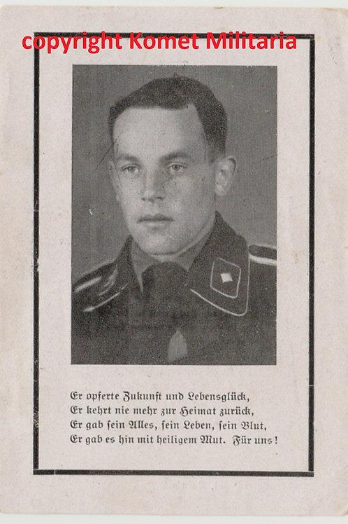 sterbebild-death card SS Panzermann KIA Italy 1944