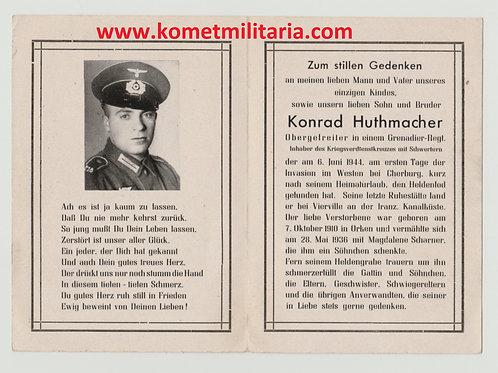 sterbebild-death card Grenadier, KIA 6.6.1944 Cherbourg, D-DAY