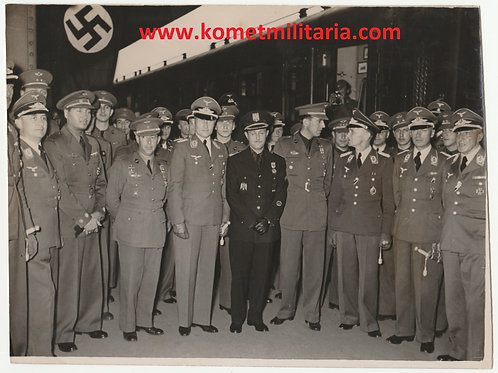 Period Press Picture LW Officers with Spanish Pilots- Escuadrilla Azul