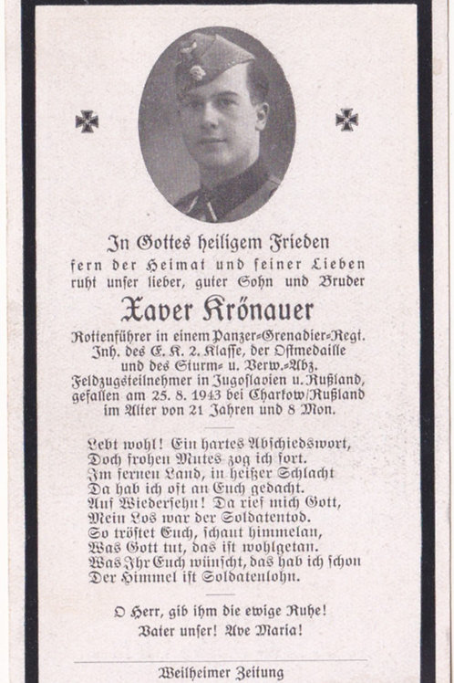 SS Rottenführer KIA death card