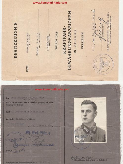 Urkunde Kraftfahrbewährungsabzeichen+Führerschein Armee Nachrichten Regiment 508