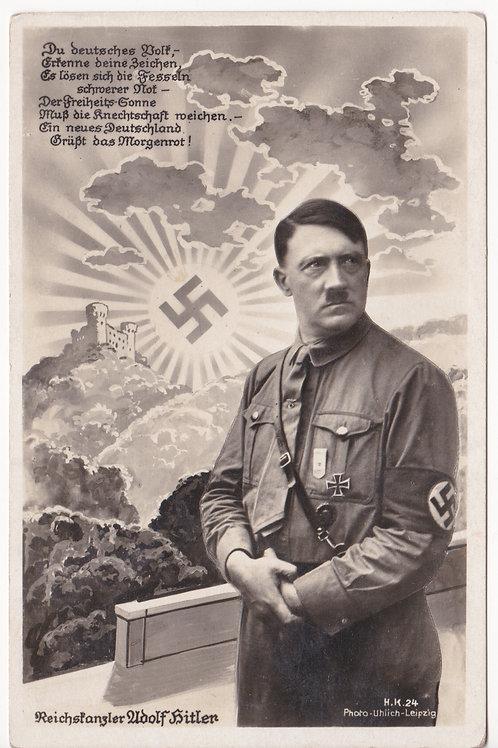 Postcard Adolf Hitler with swastika Sun