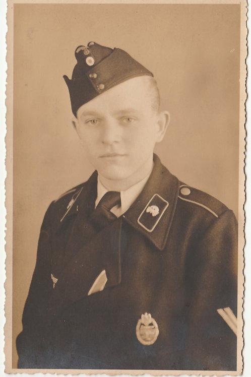 Panzer Portrait Studio Portrait with Panzer Assault Badge