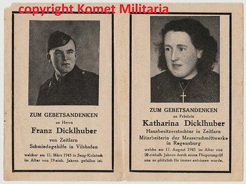 sterbebild-death card SS Panzermann and sister Hungary 1945