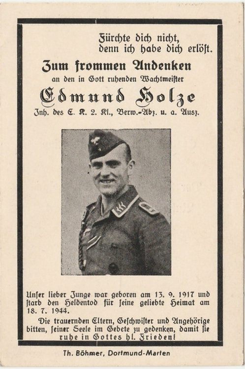 Sterbebild-death card Wachtmeister kia Normandie 18/7/1944