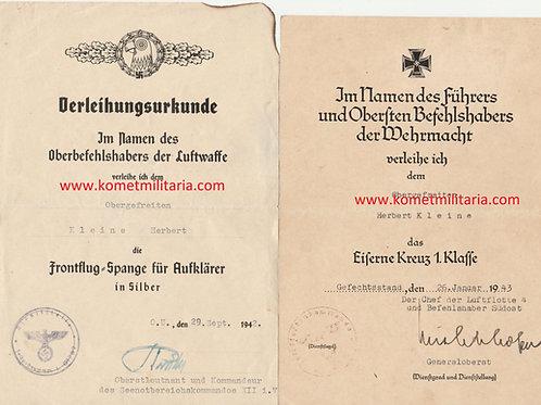 Urkunde EK1+ Frontflugspange Pilot Seenotbereichskommando 12