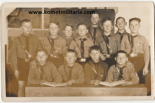 Postcard Sized Hitlerjugend Group Picture with awards in wear