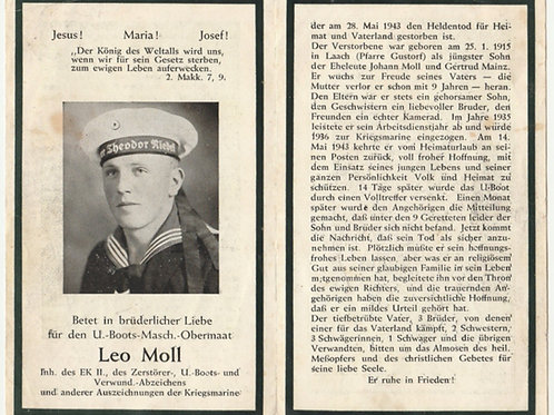 sterbebild-death card U-Boat (U-755) Maschinenobermaat 1943