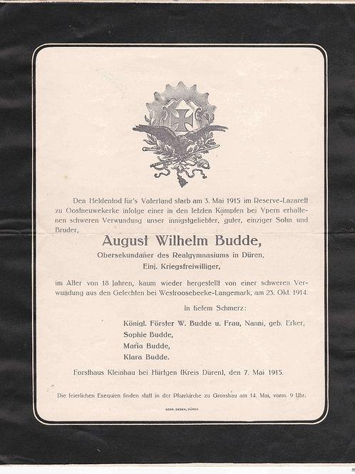 WWI Obituary August Wilhelm Budde, Ypres-Oostnieuwkerke 1915
