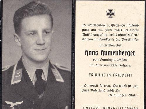Pilot kia Lafauche/Neuchateau (France) 1940 death card