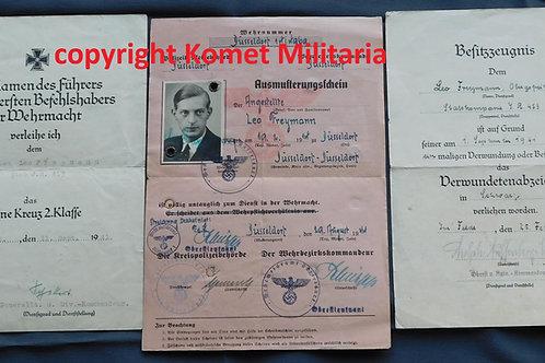 Urkunde EK2+VWS, Ausmusterungsschein  Infanterie Regiment 453