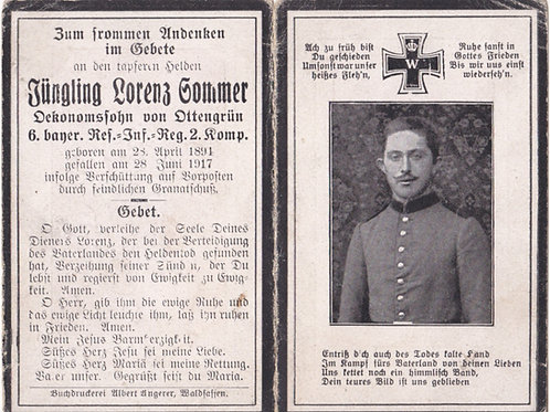 sterbebild/ death card 1917 KIA death card