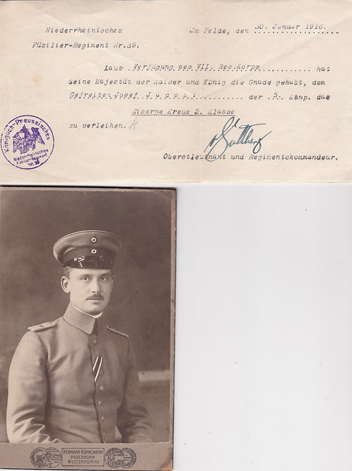WW1 small EK2 grouping ( Award Document, Award+Portrait of the Holder)
