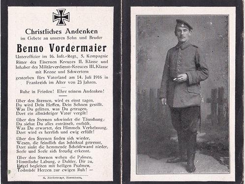 sterbebild/death card 1916 France KIA decorated NCO death card