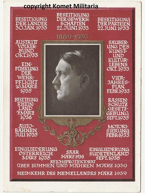 Postkarte/Postcard  50. Geburtstag Adolf Hitler's 1939