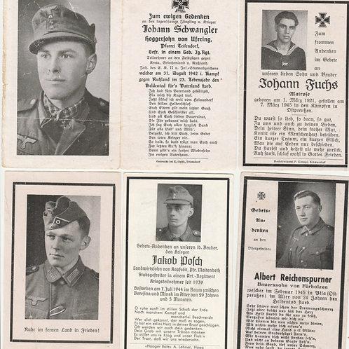5 WWII Wehrmacht death cards