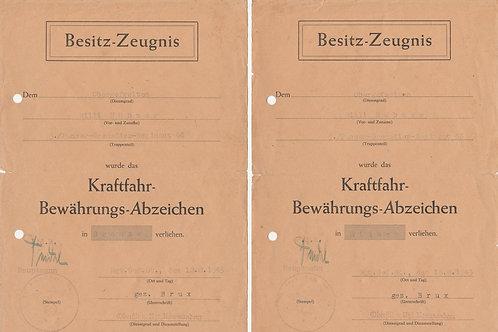 Award Documet set Kraftfahr-Bewährungsabzeichen 3./Panzer Grenadier Regiment 66