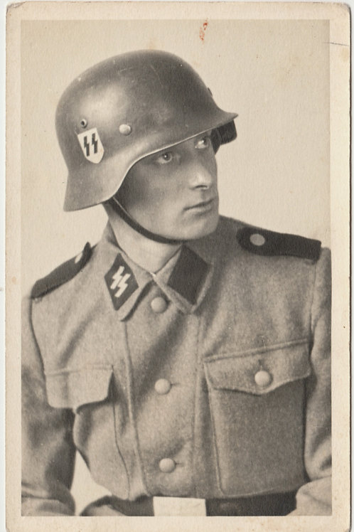 SS Portrait with M35 helmet in wear