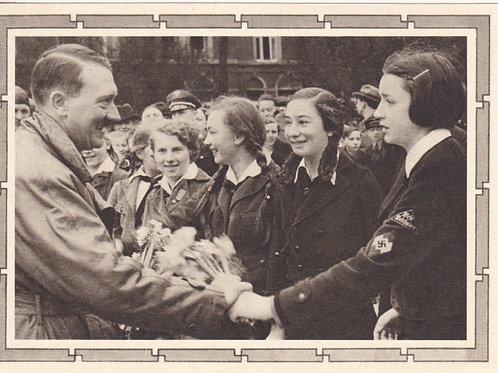 Propaganda Postcard- Adolf Hitler mit BDM Mädel