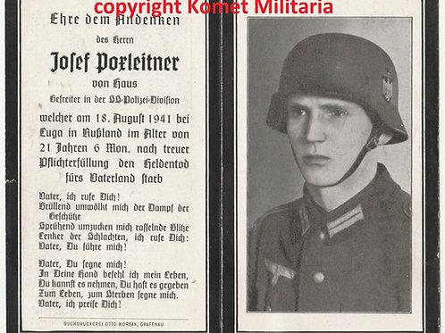 sterbebild-death card SS Polizei KIA Luga, Russia 1941