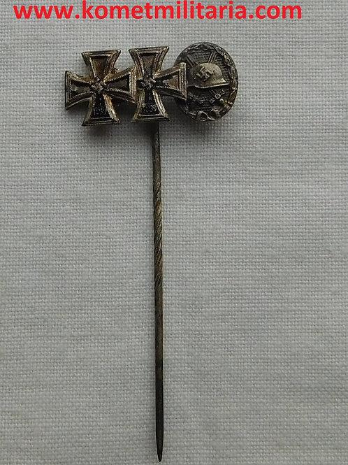 Miniatur Eisernes Kreuz 1. und 2. Klasse+Verwundetenabzeichen