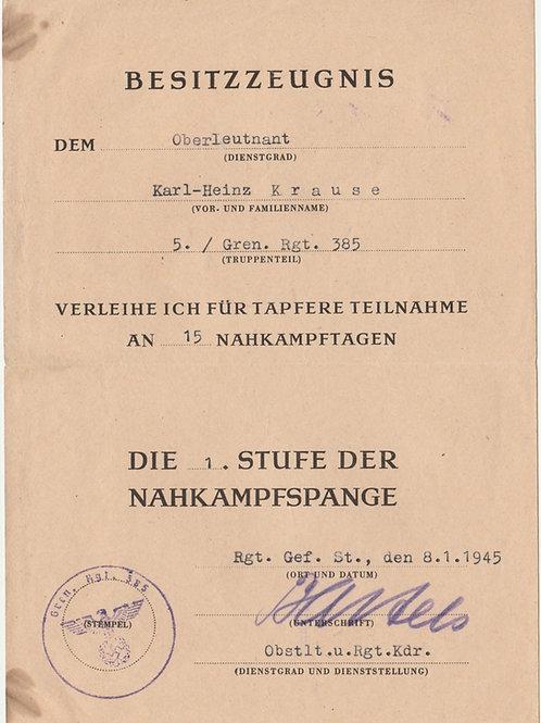 Urkunde Nahkamfpspange i. Bronze, Oberleutnant Krause Grenadier Regiment 385