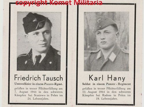 sterbebild-death card SS Panzermann and  FSJ HG Panzergrenadier Poland 1944