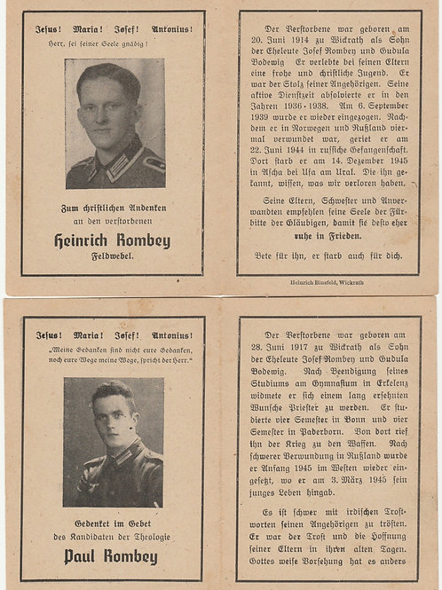 sterbebild-death card brothers Rombey