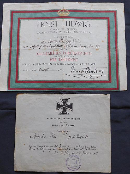 """2x Urkunde  """"Markgraf Karl"""" Eisernes Kreuz 2. Klasse+Ehrenzeichen für Tapferkeit"""