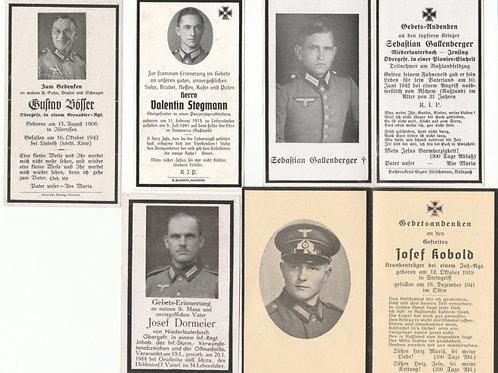 5x  WWII Wehrmacht death cards